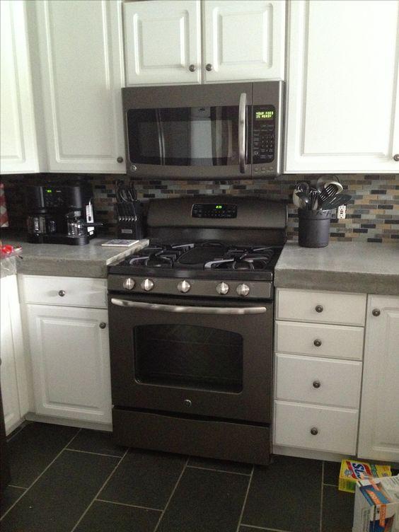 Slate appliances, Slate and White kitchens on Pinterest