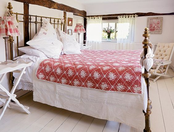 English country bedroom with victorian bed white bedlinen for English country bedroom