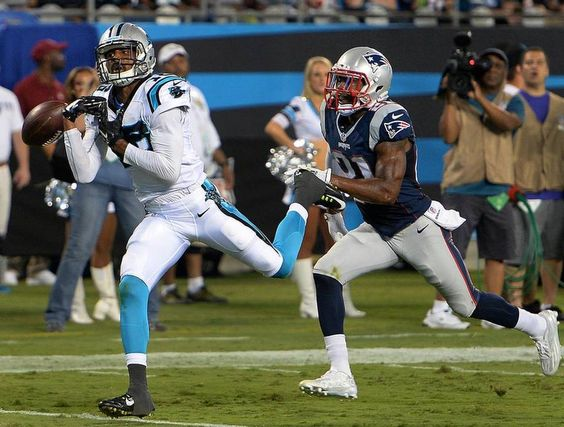 Carolina Panthers wide receiver Corey Brown, left, is unable to make a pass reception as New England Patriots cornerback Malcolm Butler, right, gives chase during second quarter action at Bank of America Stadium in Charlotte, NC on Friday, August 28, 2015.
