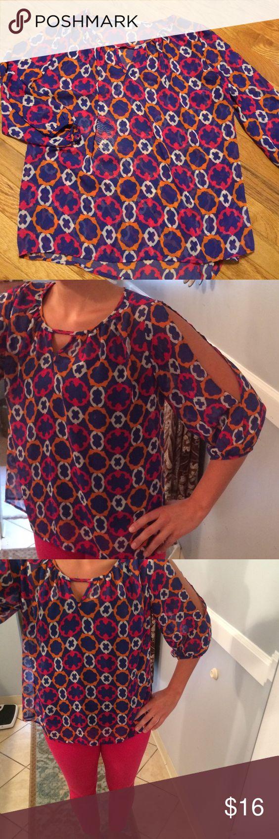 Cute boutique blouse Cute boutique blouse with open/cutout sleeves. NWOT. Miami Tops Blouses