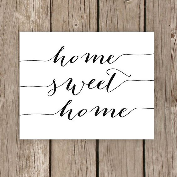 Home Sweet Home, Printable Typography Sign, Home Decor