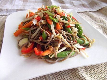 Cold Soba Noodle Salad with Peanut and Chilli Dressing