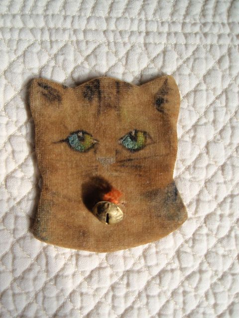 Late 19th C Cat Head Pen Wipe