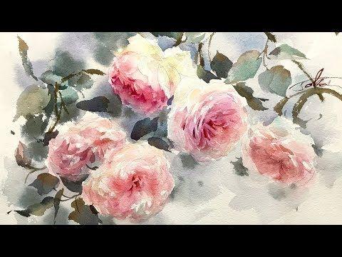 Peinture De Roses Roses A L Aquarelle Youtube En 2020