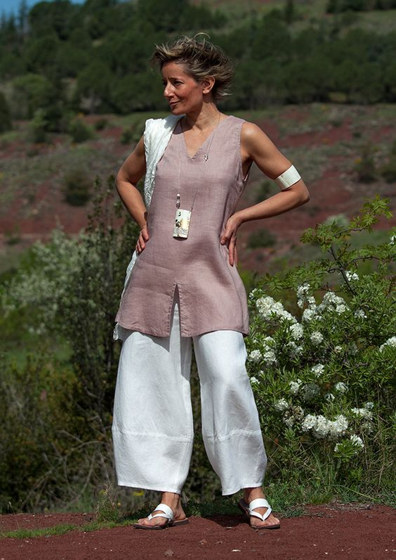 White linen trousers -:- AMALTHEE -:- n° 3356