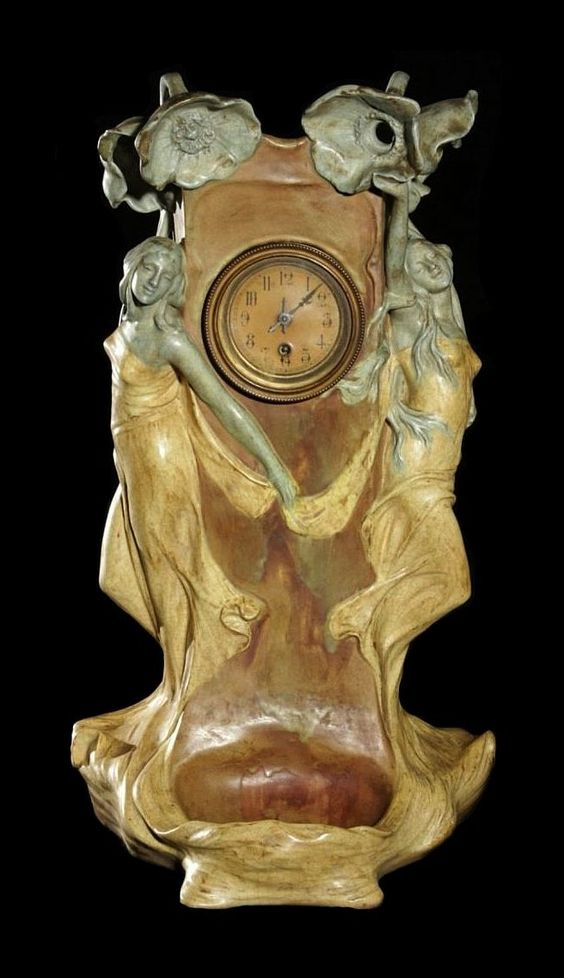 Figural Art Nouveau Amphora Tabletop Clock with Maidens, Flowers with Receptical…
