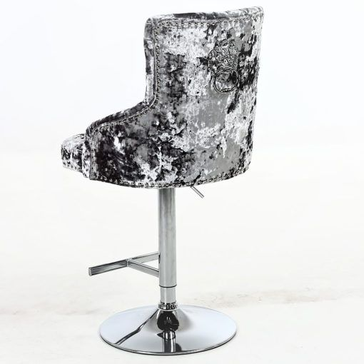Camilla Crushed Velvet And Chrome Bar Stool With Lion Ring Knocker Picture Perfect Home In 2020 Bar Stools Chrome Bar Stools Upholstered Bar Stools