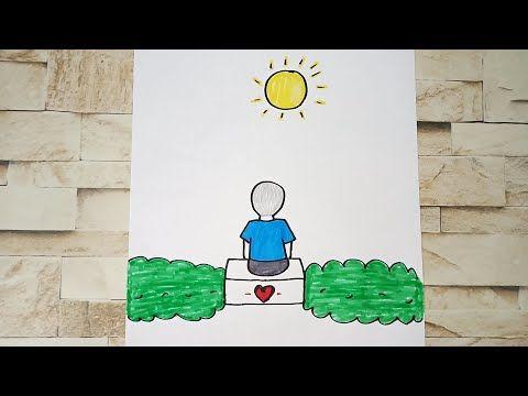 رسم سهل تعليم رسم طفل ينظر الي الشمس رسم للمبتدئين Youtube