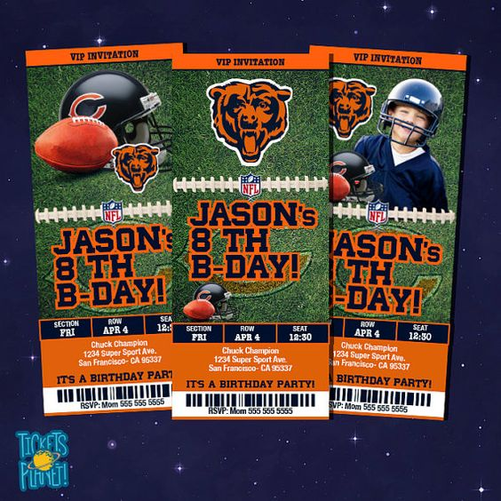Tickets Birthday Invitation Card Chicago Bears by TicketsPlanet, $10.00