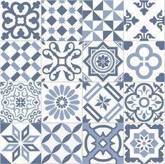 Carrelage Imitation Ciment Bleu Et Blanc Mix 20x20 Cm Antigua Azul