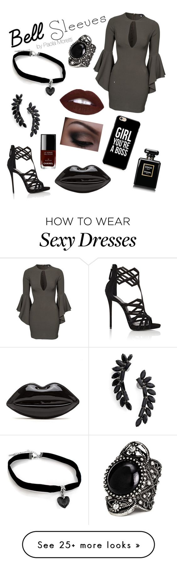 """Bell sleeves's look!"" by paola-moretti on Polyvore featuring John Zack, Giuseppe Zanotti, Cristabelle and Chanel"