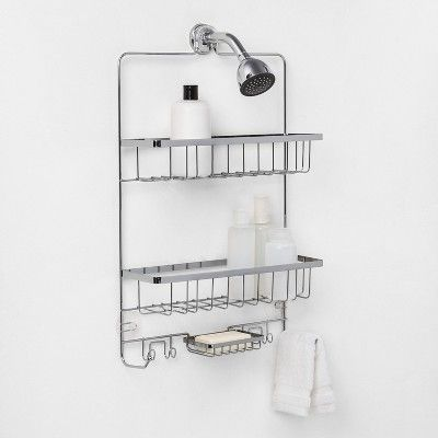 Large Bathroom Shower Caddy Chrome Made By Design Grey Large Bathrooms Master Bathroom Shower Bathroom Shower Curtains
