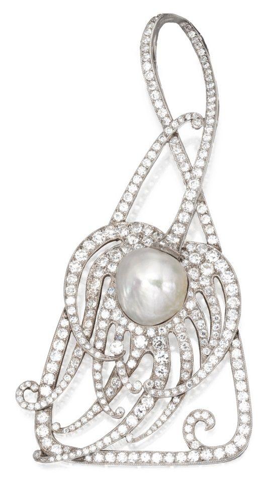 An Edwardian Platinum, Diamond and Pearl Pendant, Tiffany & Co., Circa 1910…