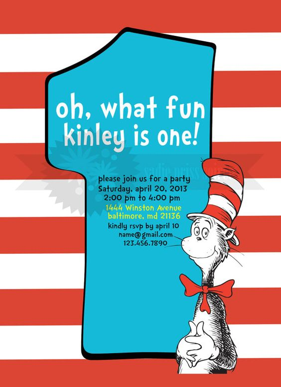 cat in the hat birthday invitations – frenchkitten, Birthday invitations