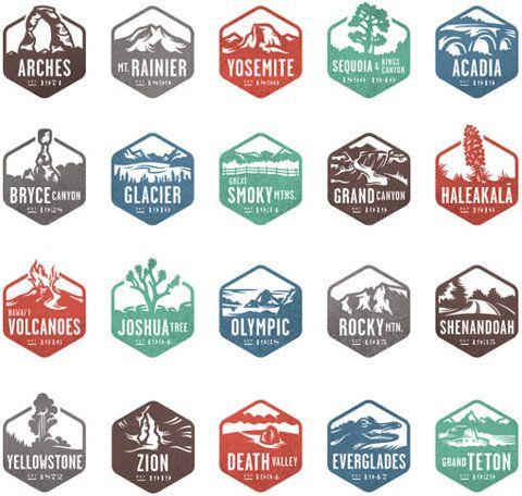 visit all the national parks (Valerie Jar: National Park Stamp Icons)