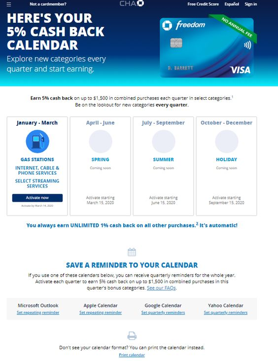 Chase Cash Back Calendar With Offers And Deals 2020 Https Www Youcalendars Com Chase Cash Back Calendar Html Calendar Academic Calendar Cash