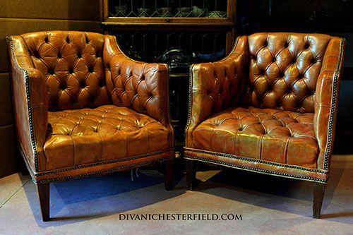 Poltrone Chesterfield Vintage Cuoio Originali Chesterfield Poltrone Vintage