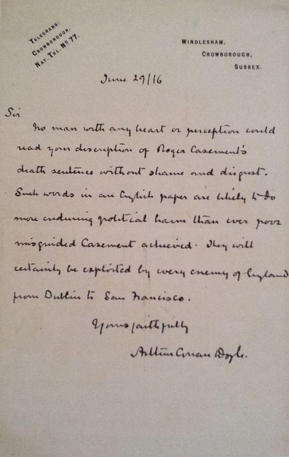Conan Doyleu0027s letter about Roger Casement (29 june 1916 - admiration letter