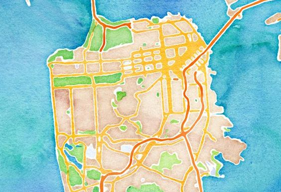 Watercolor map of San Francisco by Stamen Design
