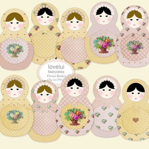 Clip Art Matryoshka Flower Basket | lovelui: