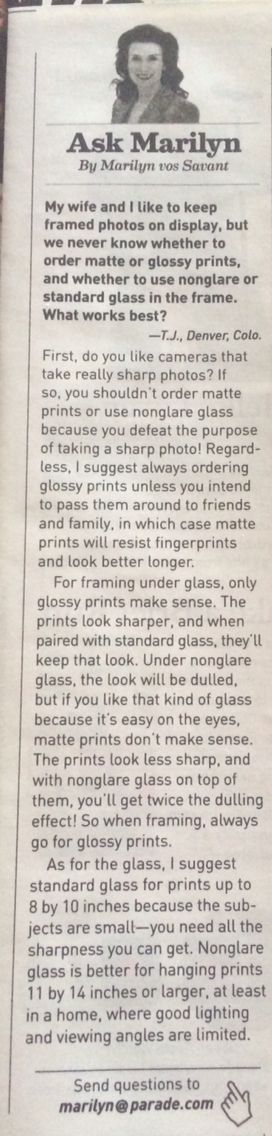 Ask Marilyn Matte versus glossy photos Parade magazine, February 2016