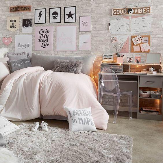 20 Pinterest Worthy Dorm Room Ideas Simply Allison White Brick Wallpaper Bedroom Brick Wallpaper Bedroom Cool Dorm Rooms