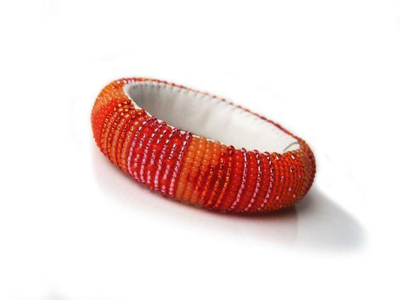 Orange und Pfirsich Saft Bangle leichte Perlen Roll von MaGabi