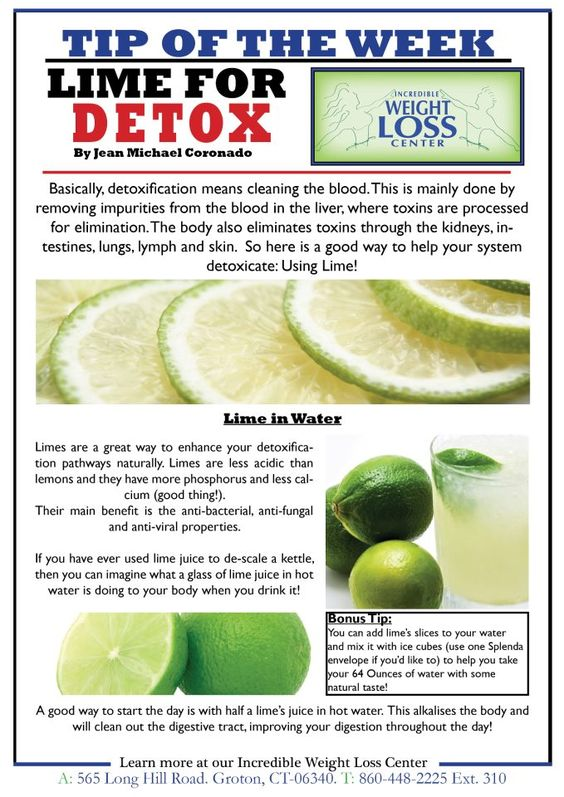 Jul 27,  · Benefits of Lemons. Per 1 oz. of juice, lemons have 14 mg of vitamin C and higher anti-inflammatory benefits than limes. Vitamin C is beneficial for detox as it helps the liver to produce glutathione, which is regenerative and helps the liver to process toxins and eliminate them.
