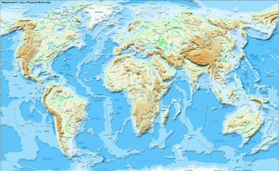 mapa del mundo fisico relieve