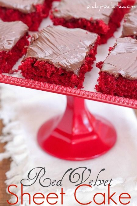 Red Velvet Sheet Cake with Nutella Fudge Icing oh my! via @pickypalate