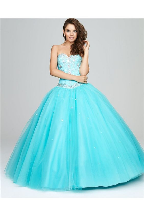 Princess Ball Gown Sweetheart Blue Tulle Beaded Corset Puffy Prom Dress