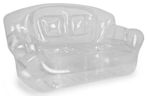Fun and colorful, surprisingly comfortable Bubble Inflatables Crystal Clear Inflatable Couch, perfect for college dorms, sleep-overs, play rooms and more. Couches are super-sturdy, made from thick 0.40mm 6P FREE PVC, and can hold up to 500-pound, so they're not just for kids (although kids sure do love 'em). Each measures a full 72 by 30 by 38-inch, and can hold 2 adults or 3-4 children. Drink holders in each arm keep your beverage close...