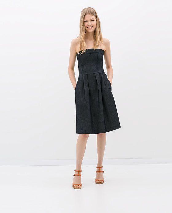 Zara Strapless Denim Dress ($60)  Great Basics  Pinterest ...