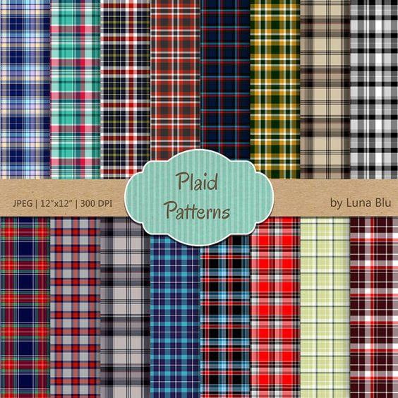 """Plaid Digital Paper: """"Plaid Patterns"""" scrapbooking paper, plaid backgrounds…"""