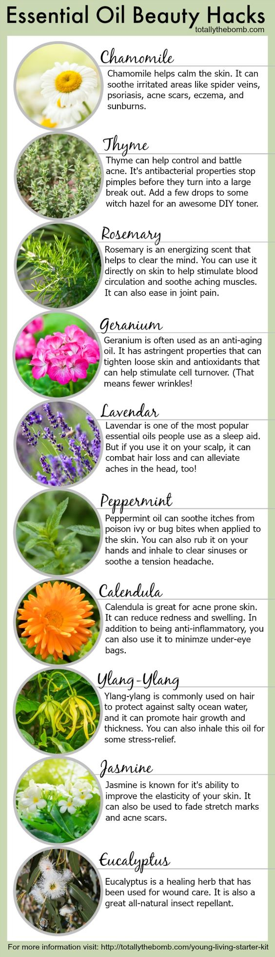 Previous pinner says--It took a little while for me to figure out which oil does what, so that's why I put together this list of essential oil beauty hacks.