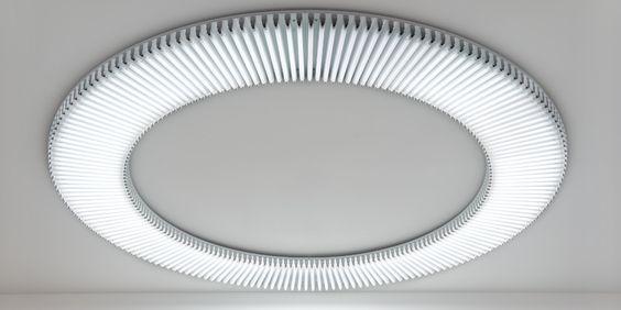 Gerhard Merz. Light, 2008.  Circular fluorescent Lumilux 11 light fixtures, dimmable. Schellmann art.