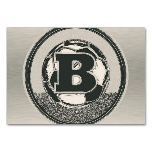 Silver Medal Soccer Monogram Letter B Table Cards