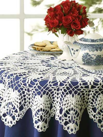 Free Crochet Patterns Round Table Toppers : Tabletop Charm -This crisp white table topper is crocheted ...
