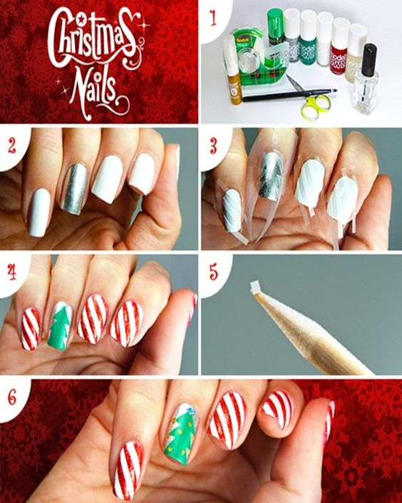 2013 Christmas candy cane nails, Christmas candy cane nails design in 2013, Scotch Magic Nails: Christmas Tutorial for 2013