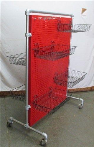 4 Red Rolling Metal Pegboard Store Display Rack
