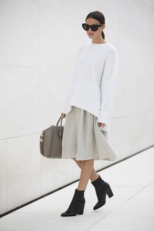 | @andwhatelse Oversized sweater over dress. Neutral tones, clean, minimal, sleek.: