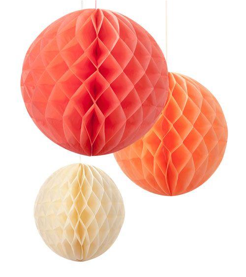 Wabenball-Set - koralle, pfirsich, creme