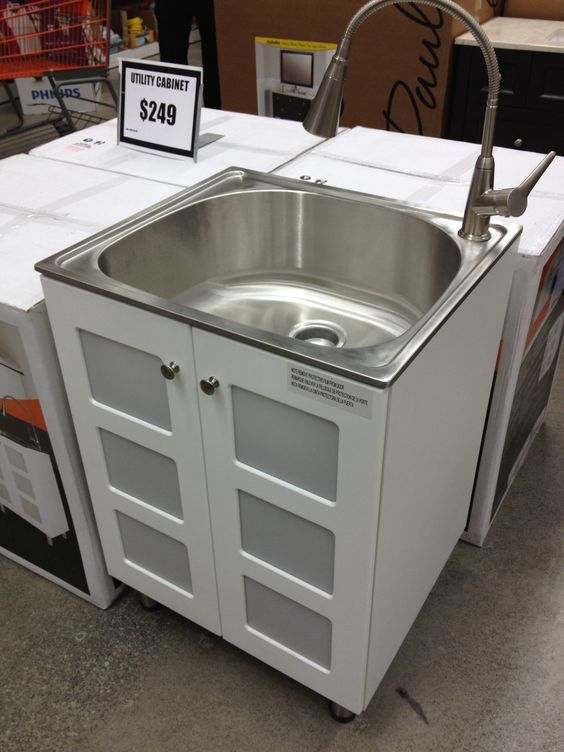 love this Stainless steel laundry sink & cabinet $249 Home Depot ...