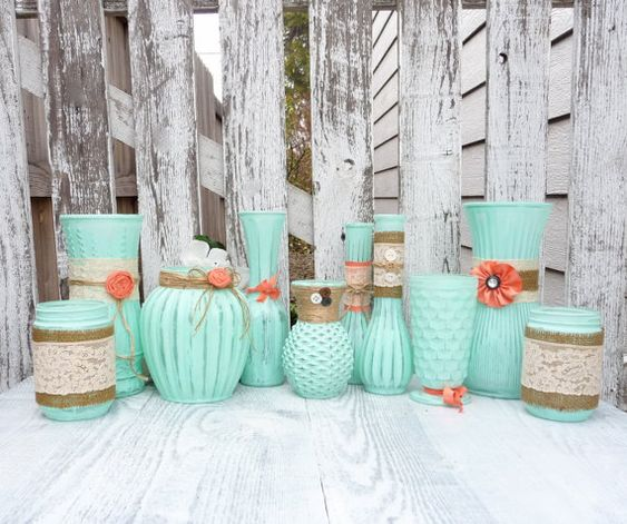 Adorable Mint & Coral Shabby Chic Vases - Find more amazing Etsy #wedding inspiration for this beautiful color palette on 3d-memoirs.com! Love is in full bloom with this amazing Spring color palette!