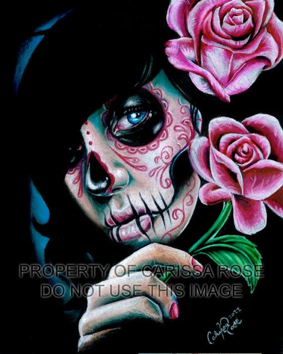 Dia De Los Muertos Sugar Skull Girl With Roses Portrait Art Print - Evening Bloom By Carissa Rose on Etsy, $5.45 AUD