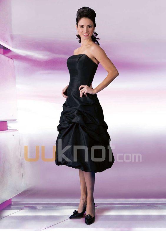 A-line Strapless Knee-Length Iridescent Taffeta Bridesmaid Dress - UUknot.com