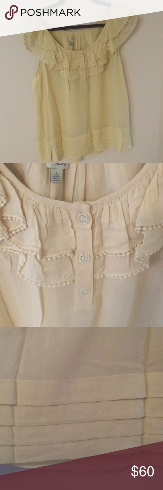 Lovely Anthropologie Blouse Upper pretty cream coloured blouse by Odille from Anthropologie. Great ruffle detail around neck with three buttons. Slight ruffle overlay at bottom hem. Worn once, like new! Bundle and save 25%! Anthropologie Tops Blouses