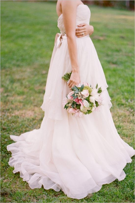 Dress and bouquet; romantic wedding