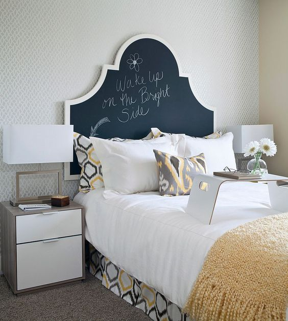 Transitional bedroom with a chalkboard paint headboard [Design: i3 design group]