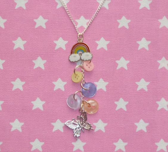 Dancing around the rainbow necklace with buttons by NiNEFRUiTSPiE, £3.00